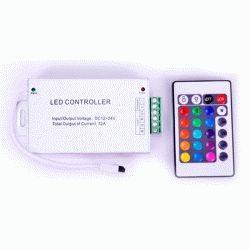 Купить RGB-контроллер Металлический IR инфракрасный (12А, 24 кнопок на пульте)
