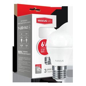 LED лампа MAXUS G45 6W яркий свет 220V E27  (1-LED-542)