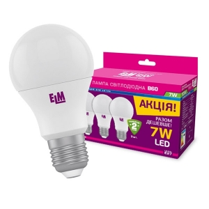Комплект ламп светодиодных стандартных B60 PA10L 7W E27 4000K 3ШТ. (арт.18-0119)