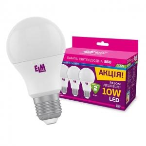 Комплект ламп светодиодных стандартных B60 PA10L 10W E27 4000K 3ШТ....