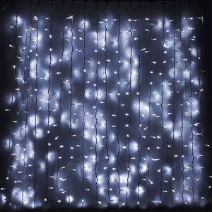 Гирлянда внешняя DELUX Curtain 456LED 2x1.5м. белая, белый провод