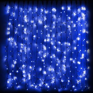 Гирлянда внешняя DELUX Curtain 456LED 2x1.5м. синяя, черный провод