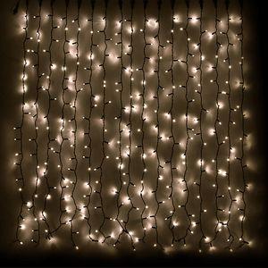 Гирлянда внешняя DELUX Curtain 456LED 2x1.5м. тепло-белая, черный провод
