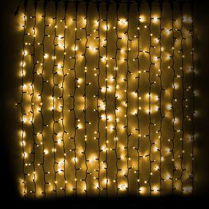 Гирлянда внешняя DELUX Curtain 912LED 2x3м. желтая, черный провод